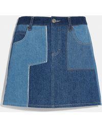 COACH Denim Patchwork Skirt - Blue