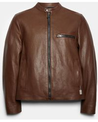 COACH Leather Racer Jacket - Brown