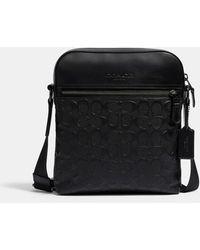 COACH Houston Flight Bag In Signature Leather - Black