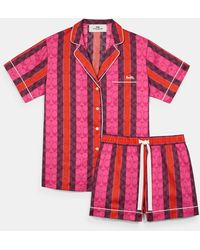 COACH Signature Striped Pajama Set - Pink