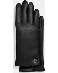 COACH Horse And Carriage Plaque Leather Tech Gloves - Black