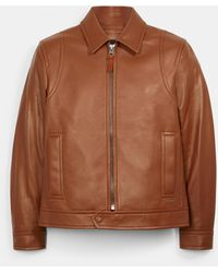 COACH Lightweight Leather Jacket - Brown
