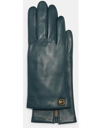 COACH Horse And Carriage Plaque Leather Tech Gloves - Multicolor