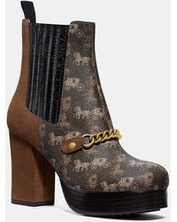 COACH Chelsea Platform Bootie With Horse And Carriage Print - Brown
