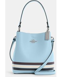 COACH Small Town Bucket Bag In Colorblock With Stripe - Blue
