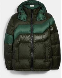 COACH Hooded Down Jacket - Green