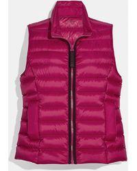 COACH Short Down Vest - Purple