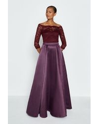 Coast Structured Satin Maxi Skirt - Purple