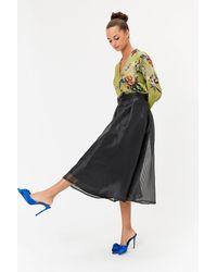 Coast Stripe Burnout Full Midi Skirt Black