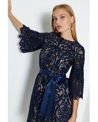 Coast Lace Puff Sleeve Knee Length Dress - Blue