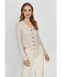 Coast Button Up Ribbed Cardigan - Brown