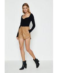 Coast Pu Paperbag Waist Shorts - Natural