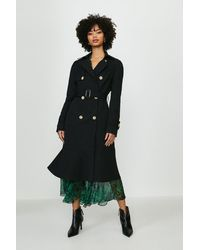 Coast Ruffle Hem Belted Trench Coat - Black