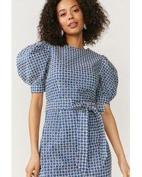 Coast Embroidered Denim Puff Sleeve Dress - Blue