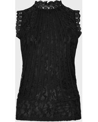 Coast Mesh And Lace Collared Shell Top - Black