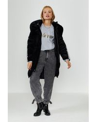 Coast Velvet Puffer Coat - Black