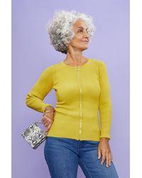 Coast Knitted Rib Zip Through Cardigan - Yellow