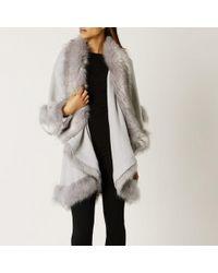Coast Kate Faux Fur Cape - Grey