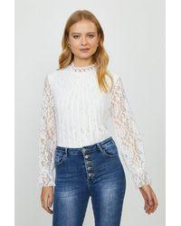 Coast Lace Long Sleeve Top - White