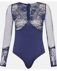 Coast Scallop Lace Long Sleeve Body - Blue
