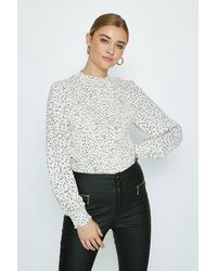 Coast High Neck Shirred Ditsy Floral Blouse - White