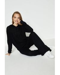 Coast Knitted Hoody And Wide Leg Lounge Set - Black