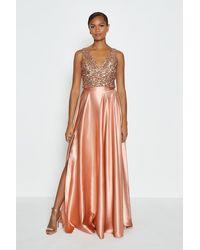 Coast Satin Maxi Skirt - Pink