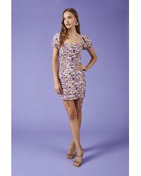 Coast Puff Sleeve Ruched Front Mini Dress - Purple