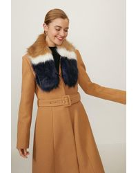 Coast Colour Block Faux Fur Scarf - Natural