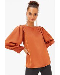 Coast Satin Puff Sleeve Top - Orange