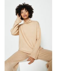 Coast Roll Neck And Wide Leg Knitted Lounge Set - Natural