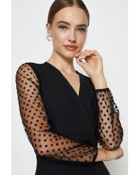 Coast Polkadot Mesh Long Sleeve Skater Dress - Black
