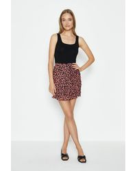 Coast Ruche Front Printed Mini Skirt - Black