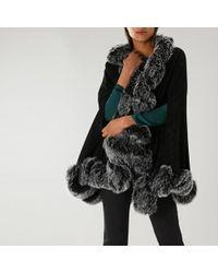 Coast Rose Faux Fur Trim Cape - Black