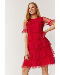 Coast Ruffle Tier Skirt Short Sleeve Mini Dress - Red