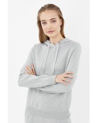 Coast Soft Yarn Hooded Knit Long Sleeve Jumper Grey Marl