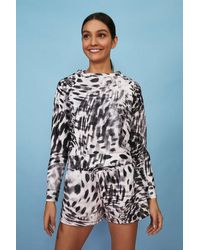 Coast Printed Loopback Raglan Sweatshirt - Grey