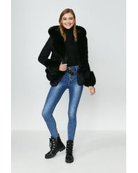 Coast Suedette Faux Fur Collar Jacket - Black