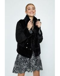 Coast Faux Fur Biker Coat - Black