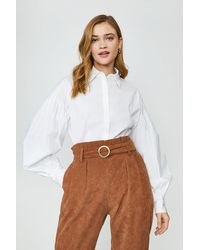 Coast Puff Sleeve Boyfriend Shirt - White