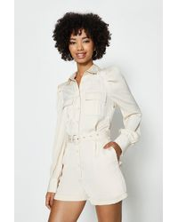 Coast Satin Belted Utility Playsuit - Natural