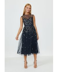 Coast Cluster Embellished Midi Dress - Blue