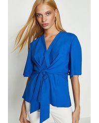 Coast Short Sleeve Plain Wrap Top - Blue