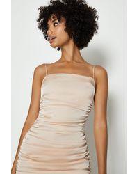 Coast Satin Ruched Cami Mini Dress - Pink