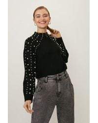 Coast Pearl Detail Knitted Top - Black