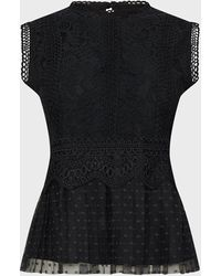 Coast Lace Shell Top With Spot Tulle Hem - Black