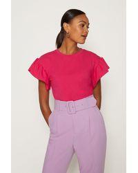 Coast Ruffle Sleeve T-shirt - Purple