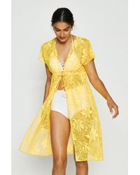 Coast Tie Front Beach Cover Up - Yellow