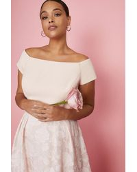 Coast Curve Bardot Neck Embroidered Midi Dress - Pink