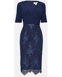 Coast Wrap Front Embroidered Midi Skirt Dress - Blue